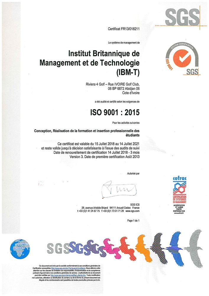 Notre certificat ISO 9001:2015